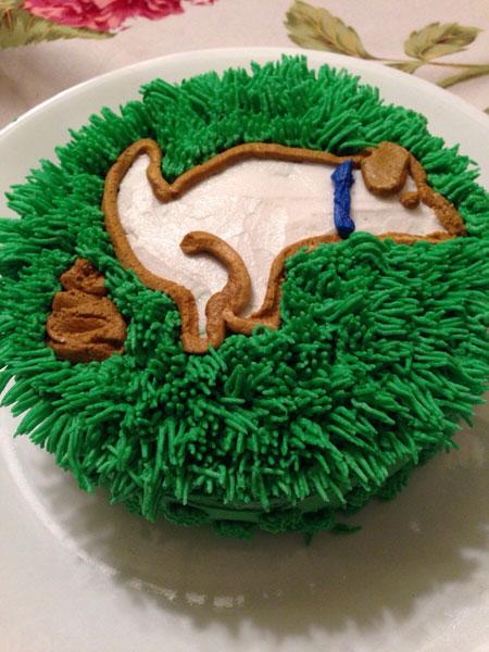 Dog taking a dump cake